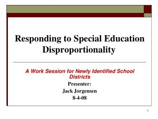 Responding to Special Education Disproportionality