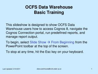 OCFS Data Warehouse Basic Training