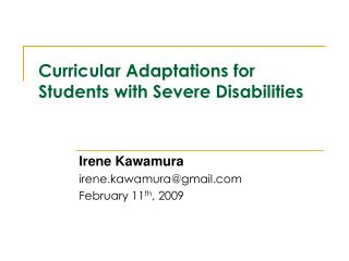 Curricular Adaptations for Students with Severe Disabilities