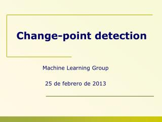 Change-point detection