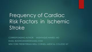 Frequency of Cardiac Risk Factors  in Ischemic Stroke