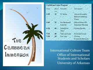 International Culture Team Office of International Students and Scholars University of Arkansas