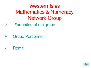 Western Isles Mathematics & Numeracy  Network Group