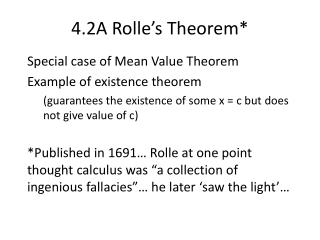 4.2A Rolle�s Theorem*