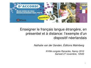 Nathalie van der Sanden,  Éditions  Malmberg XVIIIè congrès Ranaclès, Nancy 2010