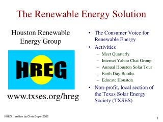 The Consumer Voice for Renewable Energy Activities Meet Quarterly Internet Yahoo Chat Group