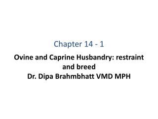 Ovine and Caprine Husbandry: restraint and breed Dr. Dipa Brahmbhatt VMD MPH