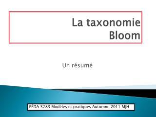 La taxonomie  Bloom
