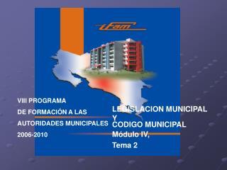 VIII PROGRAMA DE FORMACIÓN A LAS  AUTORIDADES MUNICIPALES  2006-2010