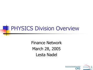PHYSICS Division Overview