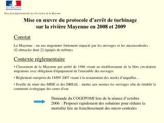 Mise en  uvre du protocole d arr t de turbinage  sur la rivi re Mayenne en 2008 et 2009