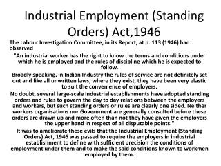 Industrial Employment Standing Orders Act,1946