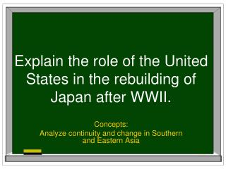 Explain the role of the United States in the rebuilding of Japan after WWII.