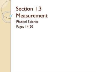 Section 1.3 Measurement