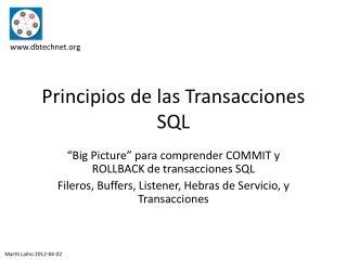 Principios de  las Transacciones  SQL