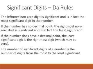 Significant Digits –  Da  Rules
