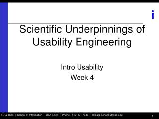 Scientific Underpinnings of Usability Engineering