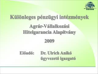 Különleges pénzügyi intézmények Agrár-Vállalkozási  Hitelgarancia Alapítvány 2009