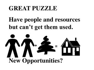 GREAT PUZZLE Have people and resources but can t get them used.   New Opportunities