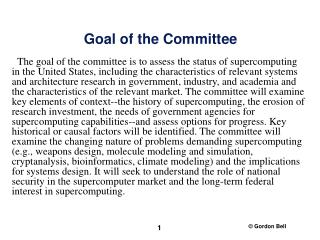 Goal of the Committee