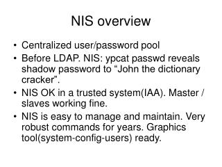 NIS overview