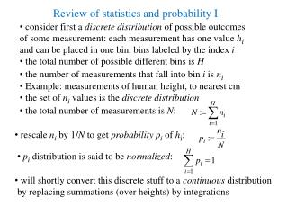 Review of statistics and probability I