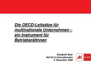 Die OECD-Leitsätze für multinationale Unternehmen –  ein Instrument für BetriebsrätInnen
