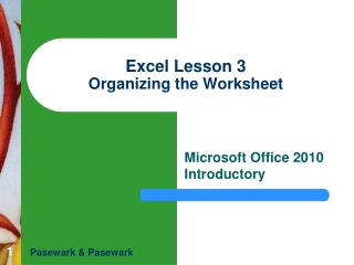 INTRODUCTORY MICROSOFT EXCEL Lesson 3   Organizing the Worksheet