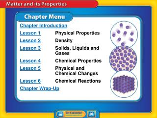Chapter Introduction Lesson 1 Physical Properties Lesson 2 Density