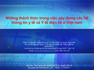 Những thách thức trong việc xây dựng các hệ thông tin y tế và Y tế điện tử ở Việt nam