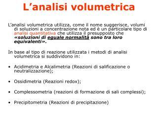 L analisi volumetrica