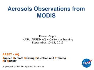 Aerosols Observations from MODIS
