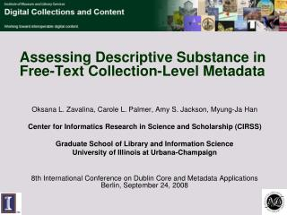 Assessing Descriptive Substance in Free-Text Collection-Level Metadata