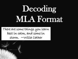 Decoding  MLA Format