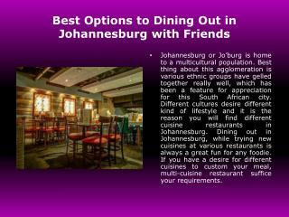 Dining Out In Johannesburg
