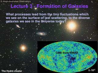 Lecture 3 - Formation of Galaxies