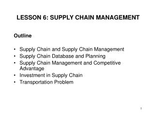 LESSON 6: SUPPLY CHAIN MANAGEMENT