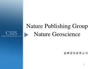 Nature Publishing Group Nature Geoscience