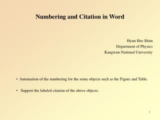Numbering and Citation in Word