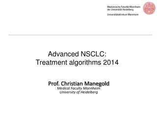 Advanced NSCLC:  Treatment algorithms 2014
