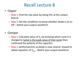 Recall Lecture 8