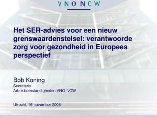 Bob Koning Secretaris Arbeidsomstandigheden VNO-NCW Utrecht, 16 november 2006