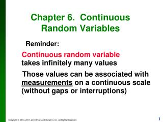 Chapter 6.  Continuous Random Variables