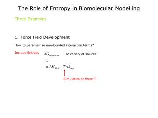 The Role of Entropy in Biomolecular Modelling