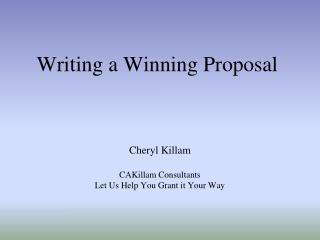 Writing a Winning Proposal