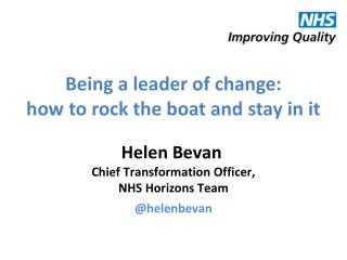 Being a leader of change: how to rock the boat and stay in it
