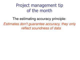 Project management tip  of the month