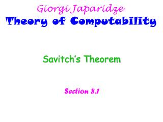 Giorgi Japaridze Theory of Computability