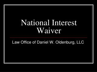 National Interest Waiver