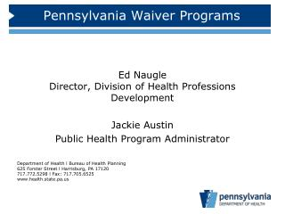 Pennsylvania Waiver Programs